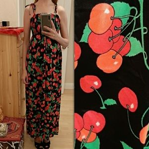 Vintage Smocked Cherry 🍒 Print Maxi Dress S-M